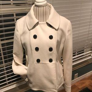 Banana Republic Wool Blend Pea Coat, Cream, Sz Lrg